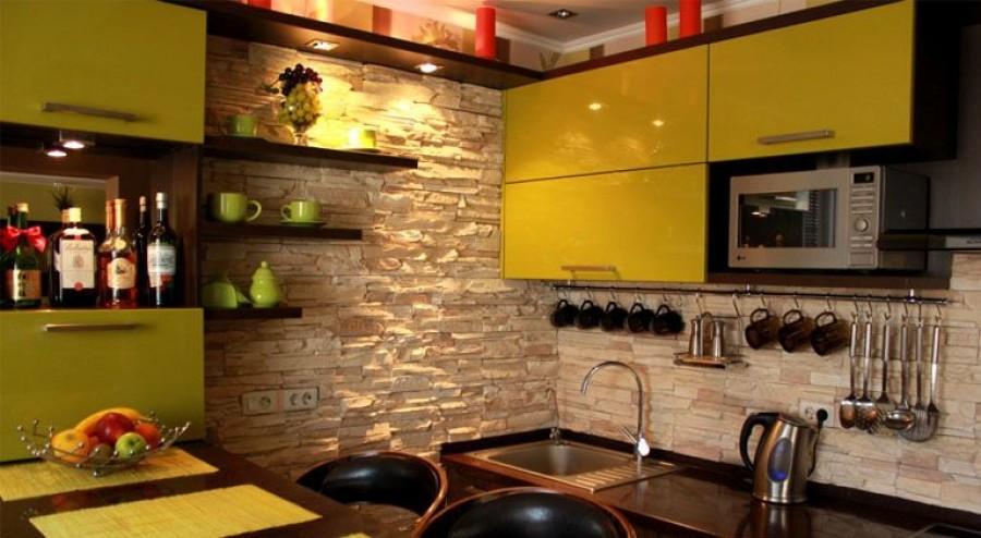 Кухня из камня и кирпича кухня интерьер